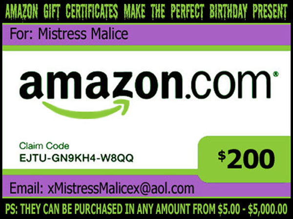Click Here To Purchase Amazon Gift Certificates